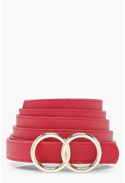 Red Plus Double Ring Buckle Belt