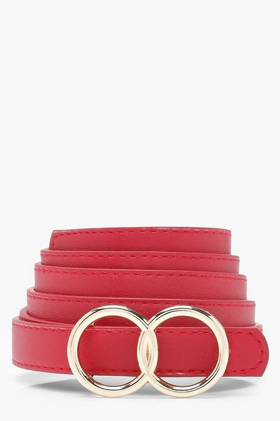 Womens Red Plus Double Ring Buckle Belt