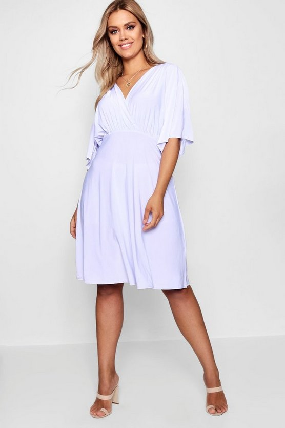Plus Slinky Wrap Over Skater Dress