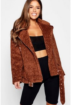Womens Cumin Petite Luxe Pocket Detail Faux Fur Coat