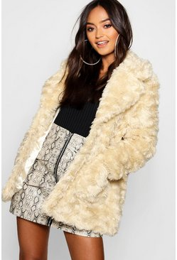 Womens Cream Petite Textured Luxe Faux Fur Coat