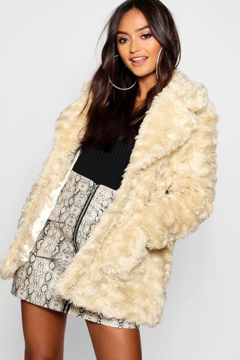 2060399a9a2 Petite Textured Luxe Faux Fur Coat   Boohoo
