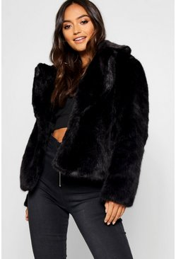Petite luxuriöser Fake-Fur-Mantel, Schwarz, Damen