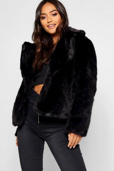 112092e7f Womens Black Petite Luxe Faux Fur Coat