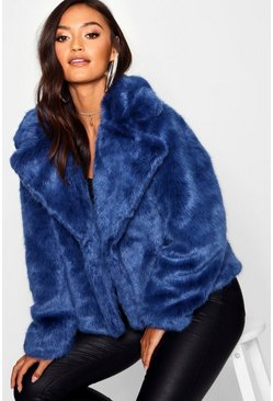 Womens Dark blue Petite Luxe Faux Fur Coat