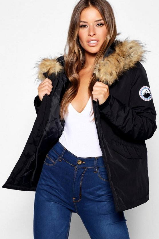 Womens Black Petite Faux Fur Trim Sporty Parka