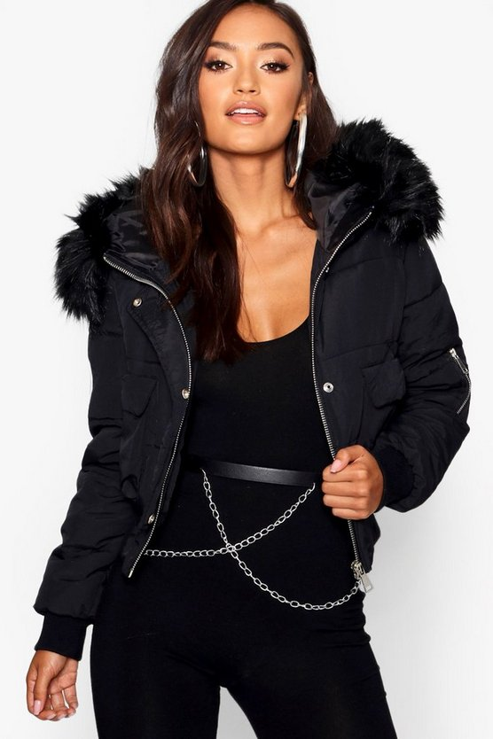 Womens Black Petite Luxe Faux Fur Hood Sporty Cropped Coat