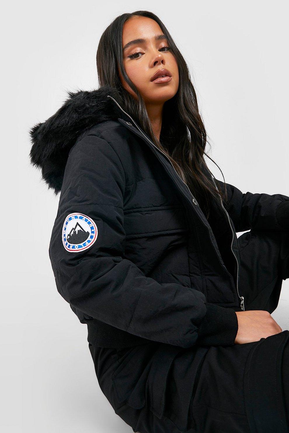 922d919ae43 Womens Black Petite Luxe Faux Fur Hood Sporty Cropped Coat