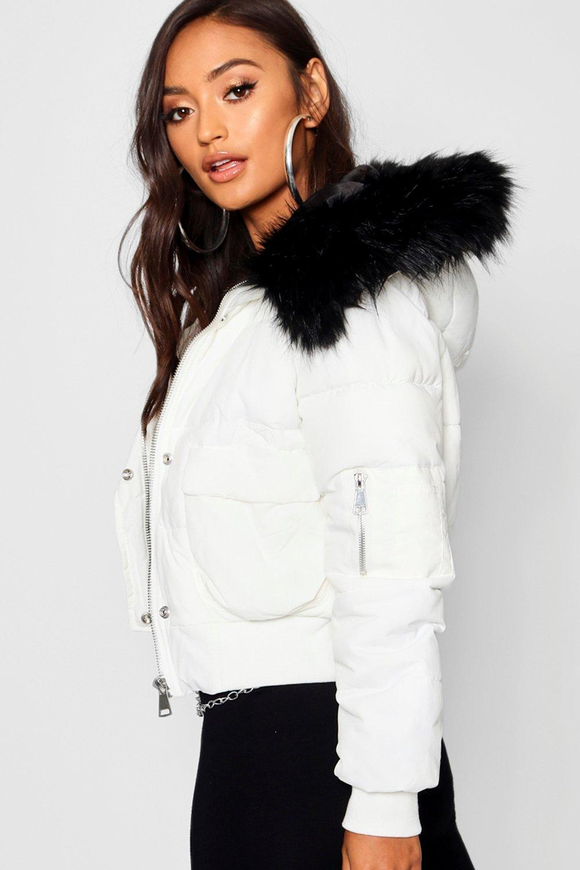 de Petite con de lujo deportivo Abrigo piel corto blanco capucha Rq4wSa
