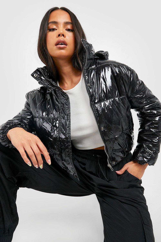 Petite capucha Abrigo negro brillante con z6PZAZwtBW