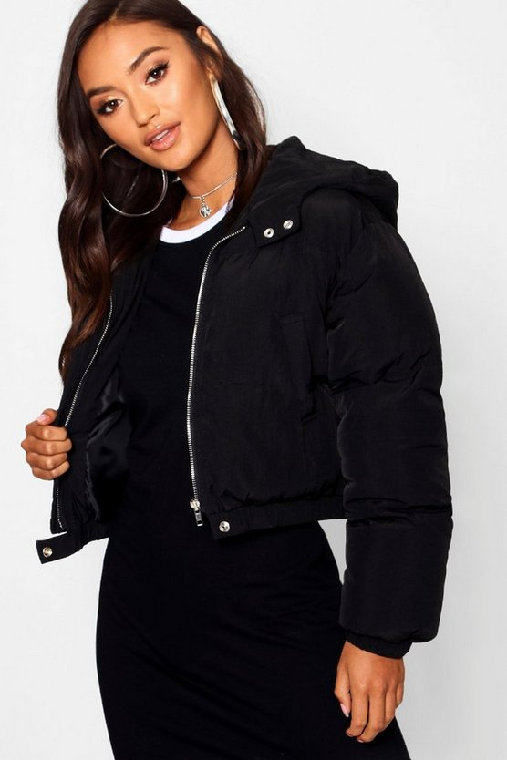 Womens Black Petite Hooded Crop Padded Coat