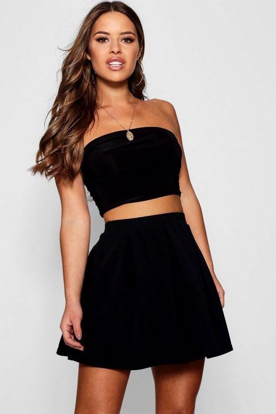 Womens Black Petite  Box Pleat Skater Skirt