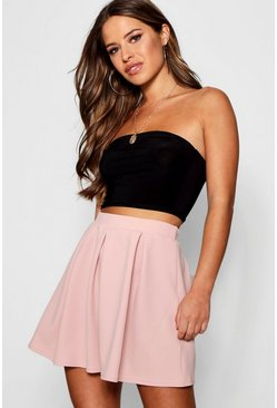 Womens Blush Petite  Box Pleat Skater Skirt