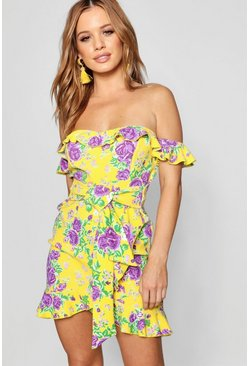 Womens Yellow Petite Floral Bardot Tie Waist Mini Dress