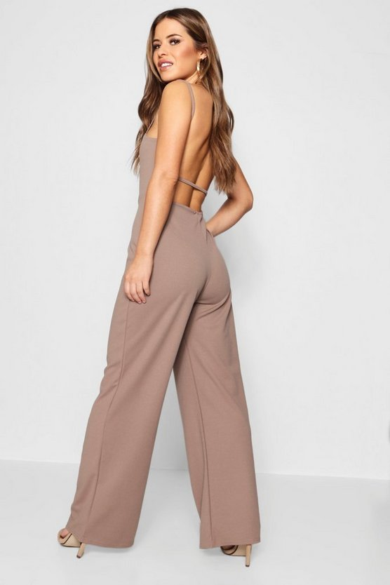 Petite Square Neck Strap Back Jumpsuit