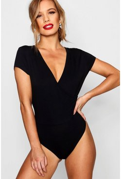 Womens Black Petite Basic Wrap Viscose Bodysuit