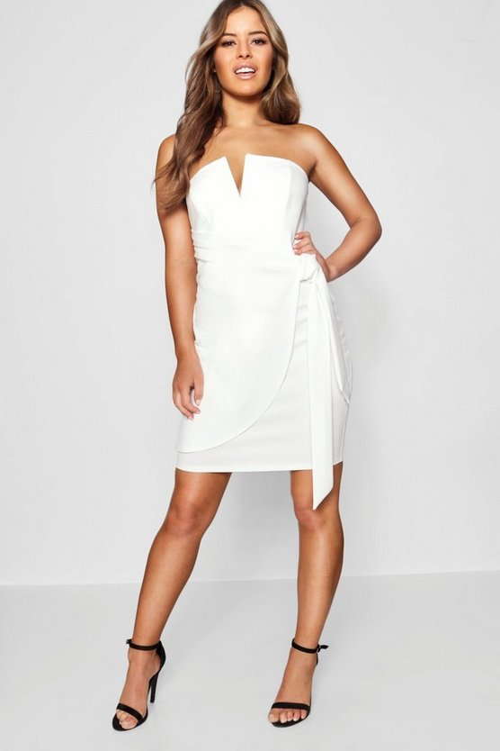 Womens White Petite V-Bar Detail Wrap Tie Mini Dress