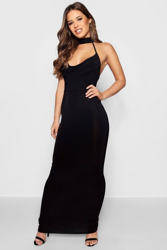 Womens Black Petite  Cowl Neck Collar Maxi Dress