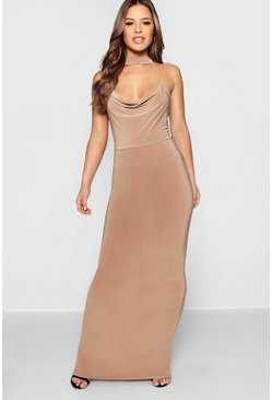 Womens Camel Petite  Cowl Neck Collar Maxi Dress