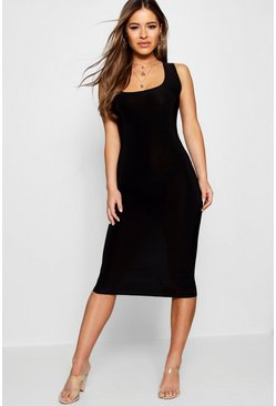Womens Black Petite Scoop Neck Slink Midi Dress