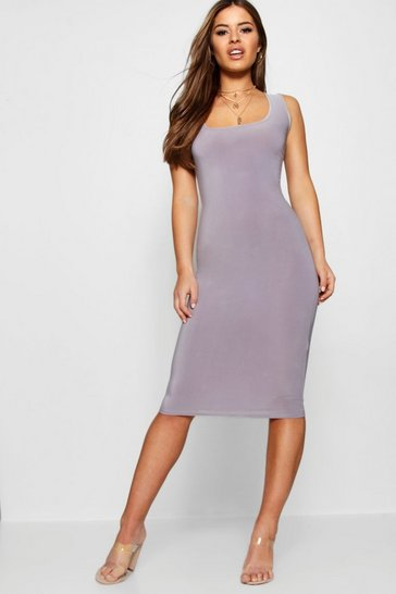Womens Grey Petite Scoop Neck Slink Midi Dress