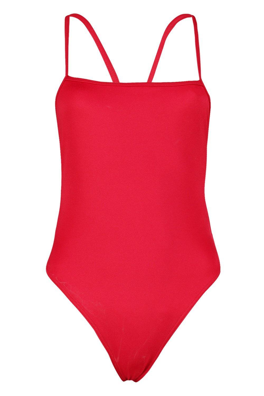 pierna Savannah rojo con de Bañador escote cuadrado alta Petite pnAUxq4