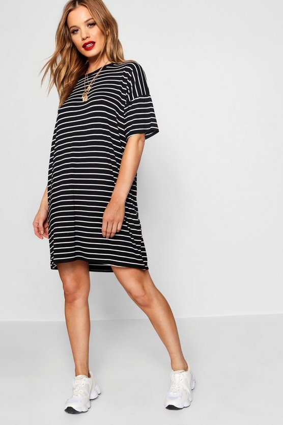 Womens Black Petite Stripe T-Shirt Dress