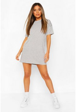 Womens Grey Petite Stripe T-Shirt Dress