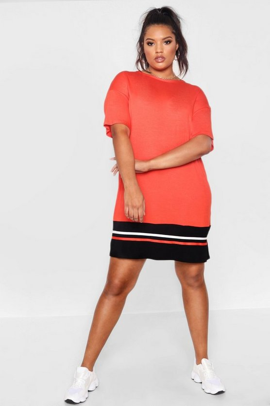 Plus Jersey Stripe Hem T Shirt Dress