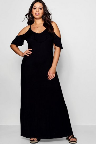 Womens Black Plus  Ruffle Detail Cold Shoulder Maxi Dress