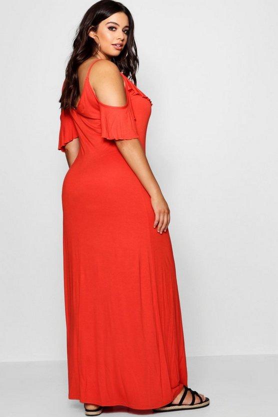 Plus  Ruffle Detail Cold Shoulder Maxi Dress