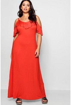 Womens Orange Plus  Ruffle Detail Cold Shoulder Maxi Dress