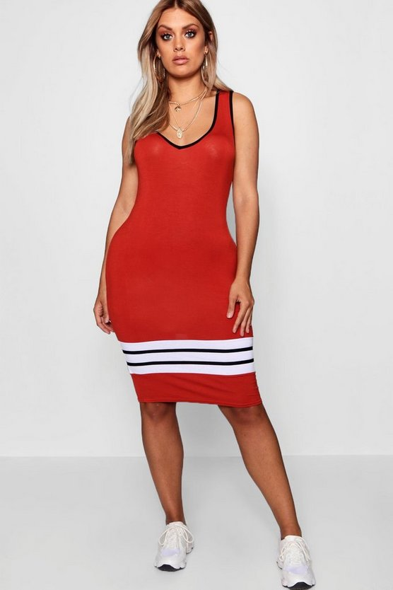 Rust Plus Sports Trim Midi Dress