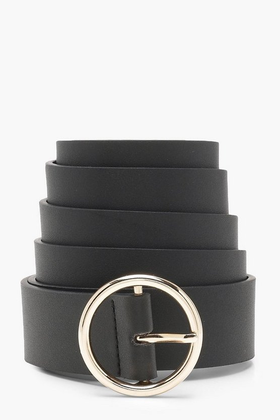 Womens Black Plus Circle Ring Boyfriend Belt
