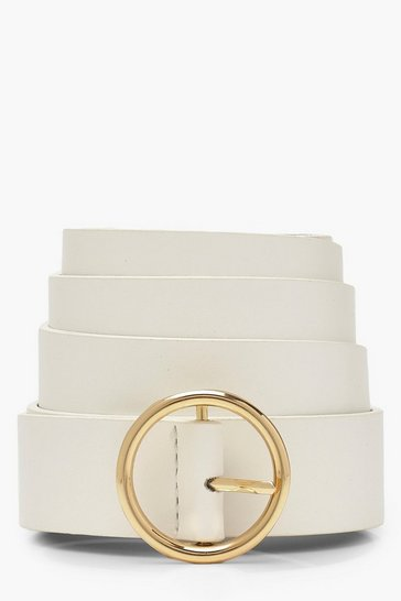 Womens White Plus Circle Ring Boyfriend Belt