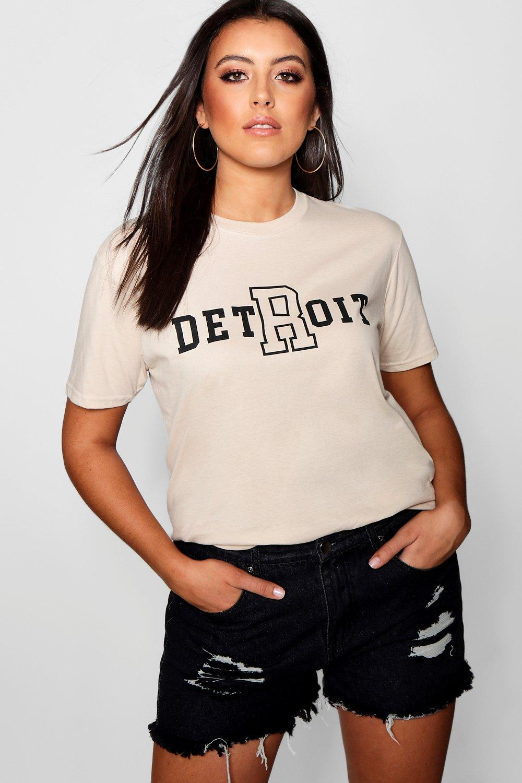 con maglietta Plus scritta scritta Detroit Detroit con con Plus maglietta Plus scritta maglietta qgwwUYC