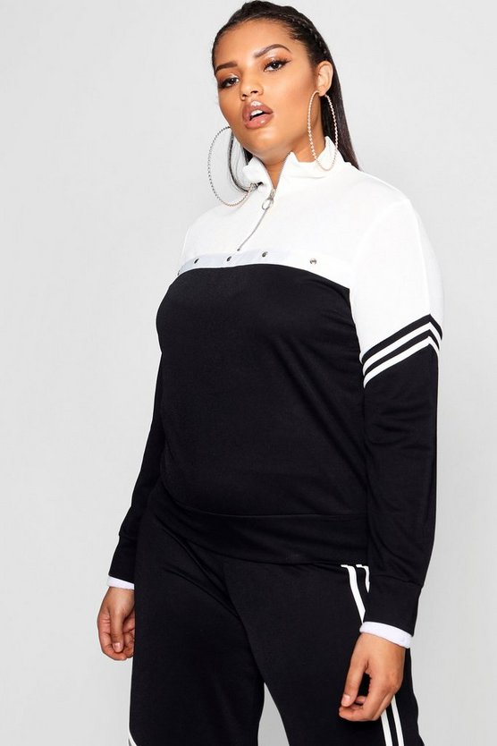 Plus  Tonal Popper Stripe Track Top