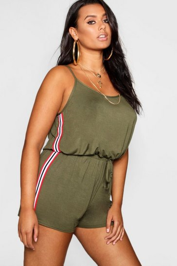 Womens Green Plus Sports Stripe Playsuit
