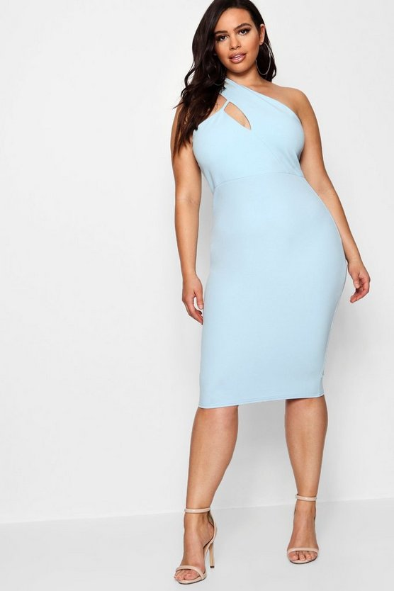 Plus High Neck Cut Out Detail Midi Dress