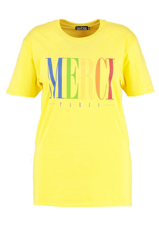 Camiseta amarillo Plus estampado Merci con amarilla 4T4Fq7P