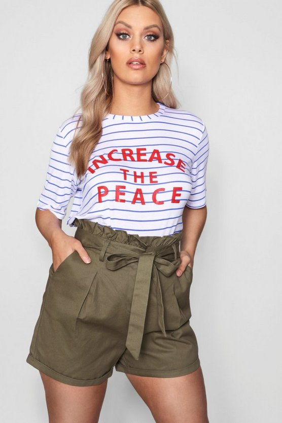 Plus Stripe Slogan Stripe Tee