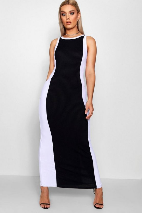 Plus Colourblock Ribbed Maxi Dress