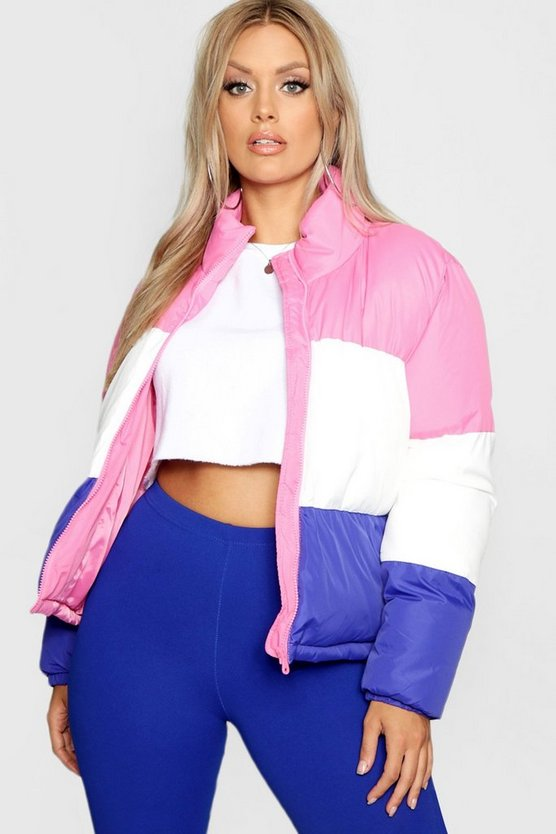 Plus Colour Block Cropped Puffer Jacket