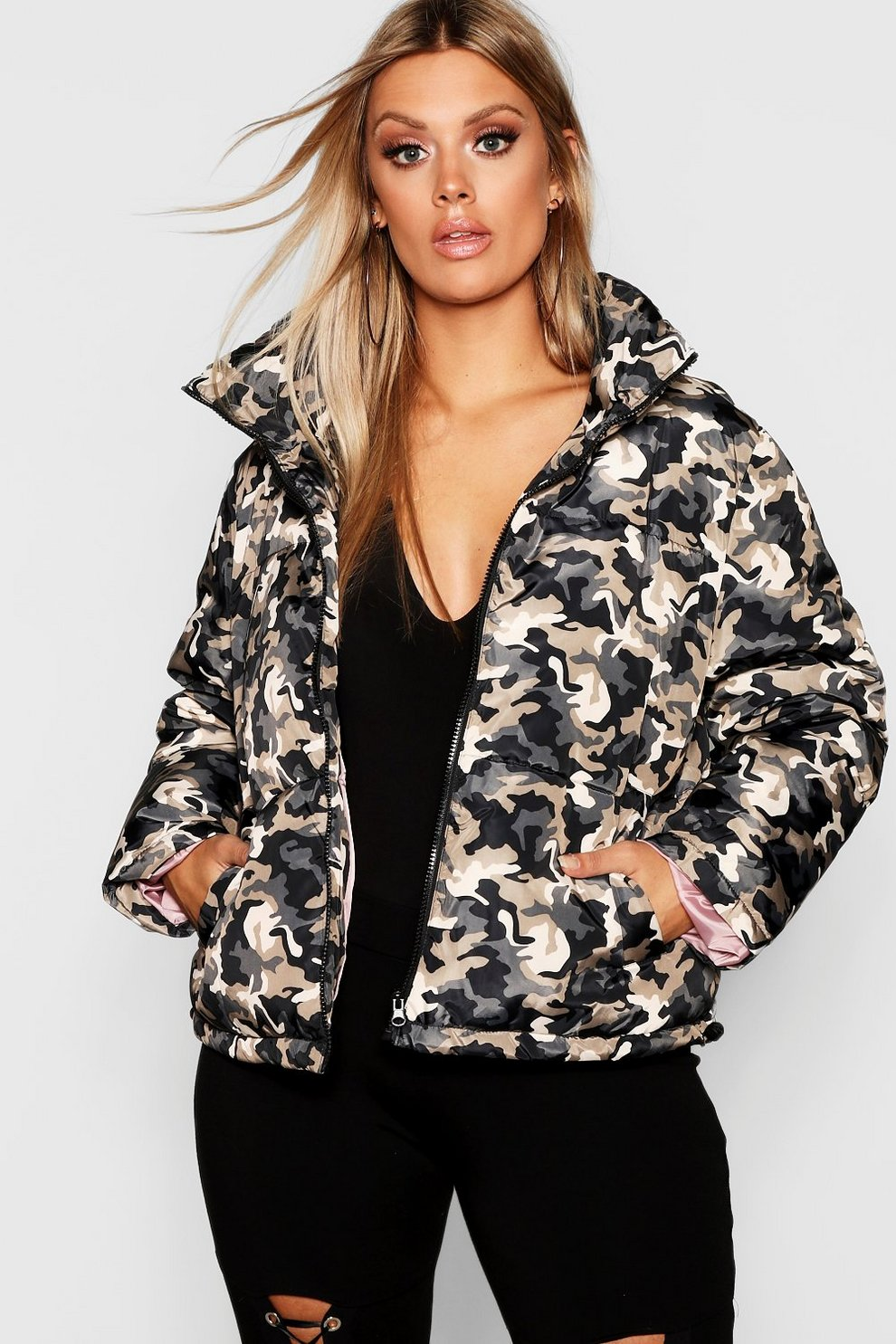 promo code fbc8f 2a5c4 Plus giacca piumino mimetica