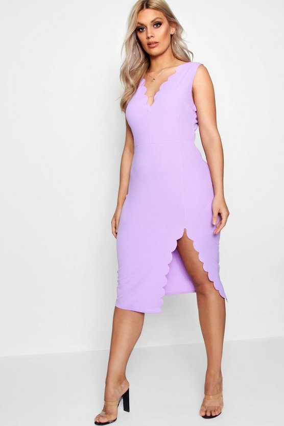 Plus Scalloped Edge Split Front Dress