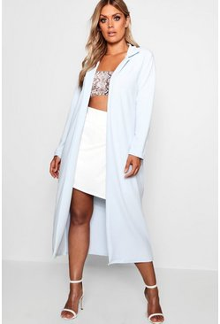 Baby blue Plus  Crepe Longline Duster