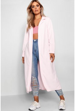 Womens Baby pink Plus  Crepe Longline Duster