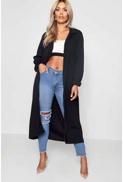 Womens Black Plus  Crepe Longline Duster