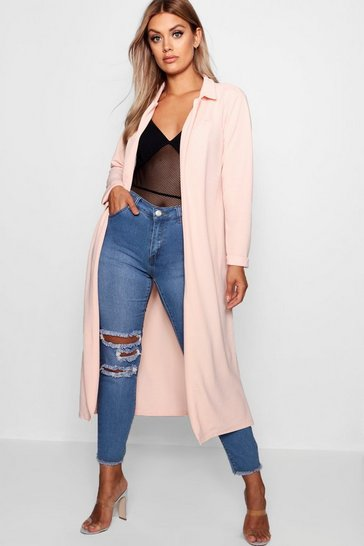 Womens Blush Plus  Crepe Longline Duster
