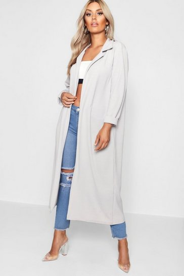 Womens Grey Plus  Crepe Longline Duster